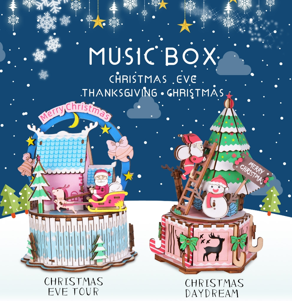 Iiecreate DIY Assembled Christmas Eve and Thanksgiving Christmas Music Box Doll House Model Toy