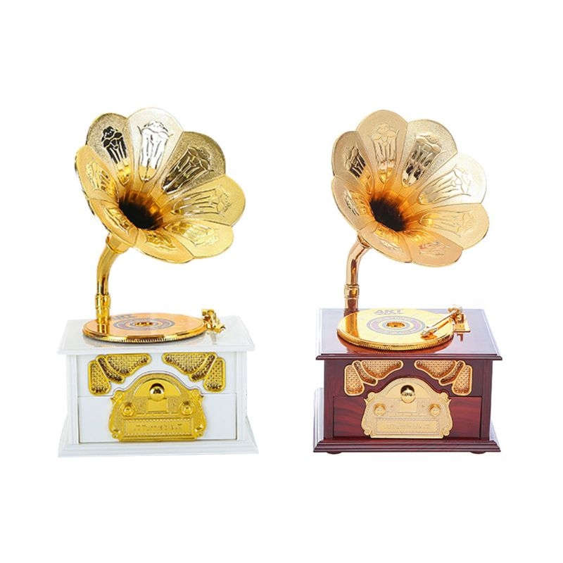 Wooden Metal Hand Crank Retro Phonograph Music Box for Kids Home Ornaments