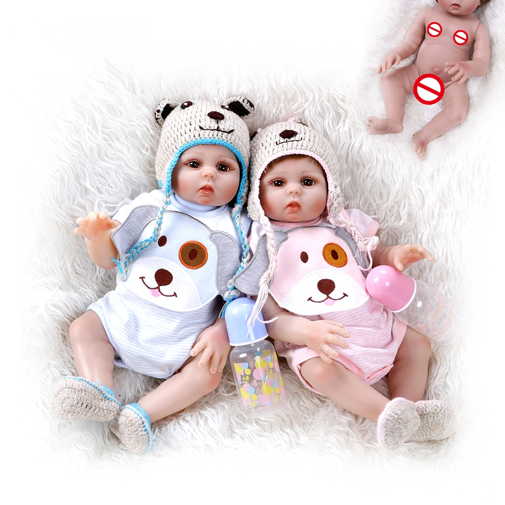 NPK 48cm Premie Doll Reborn Baby Pink and Blue Sweet Twins Body Soft Silicone Bath Toys