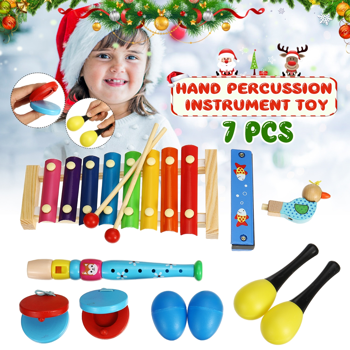 7 Pieces Orff Musical Instruments Set Kids Puzzle Percussion for Children's Sensing Practice