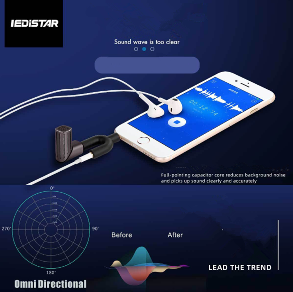 Micro Folding Microphone Vlog Recording Microphone 90 Degree Rotation Compatible with IOS /iphone/ipad/Macbook/Android