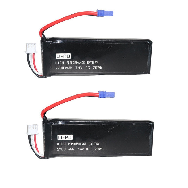 2PCS 7.4V 2700mAh 10C Lipo Battery With USB Charger for Hubsan H501S H501C RC Quadcopter