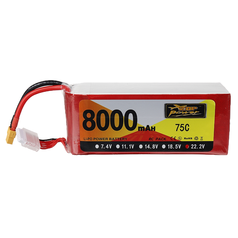 ZOP Power 22.2V 8000mAh 75C 6S Lipo Battery XT60 Plug for RC Drone