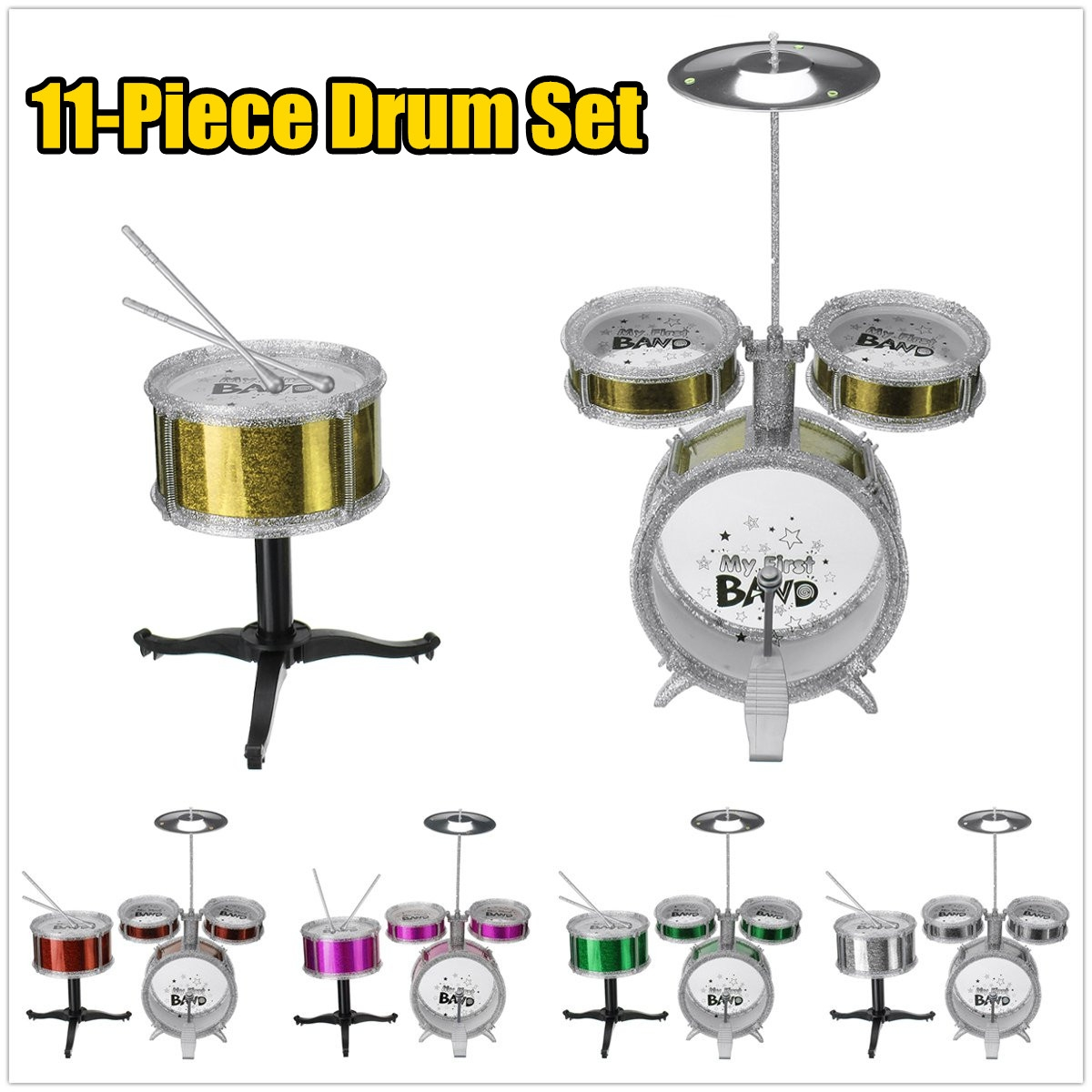 11-Piece Jazz Drum Set Electroplating Beat Drums Children's Educational Musical Toys