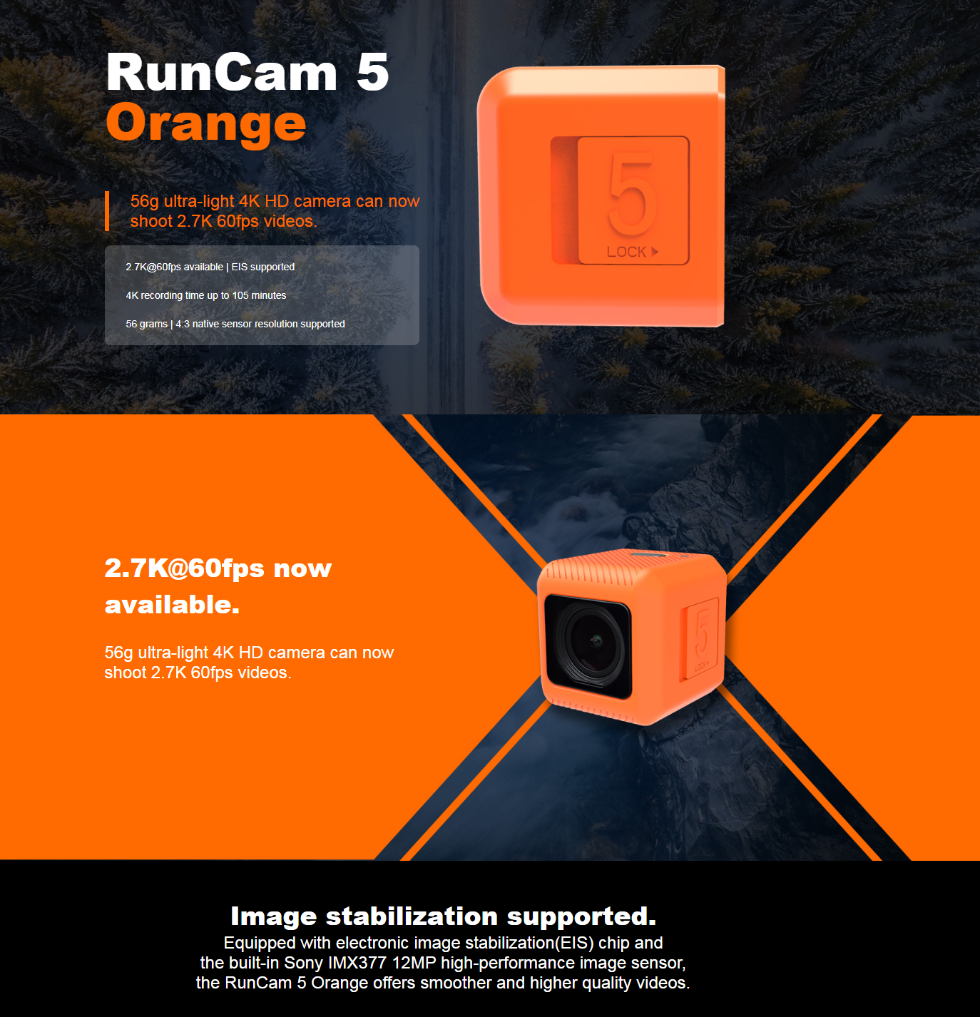 RunCam 5 Orange 12MP 4:3 145°FOV 56g Ultra-light 4K HD FPV Camera