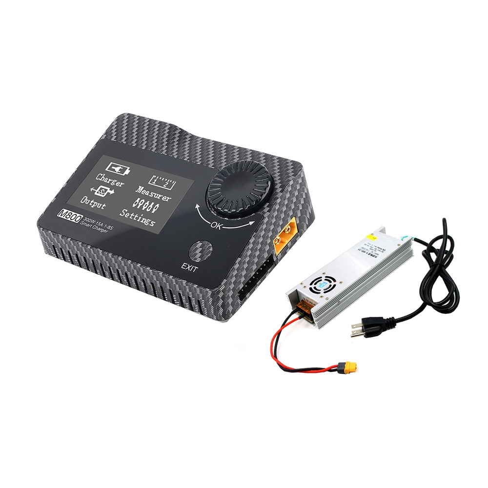 ToolkitRC & URUAV M800 300W 15A DC Smart 1-8S Lipo Battery Balance Charger Discharger With LANTIAN 24V 16.6A 400W Power Supply