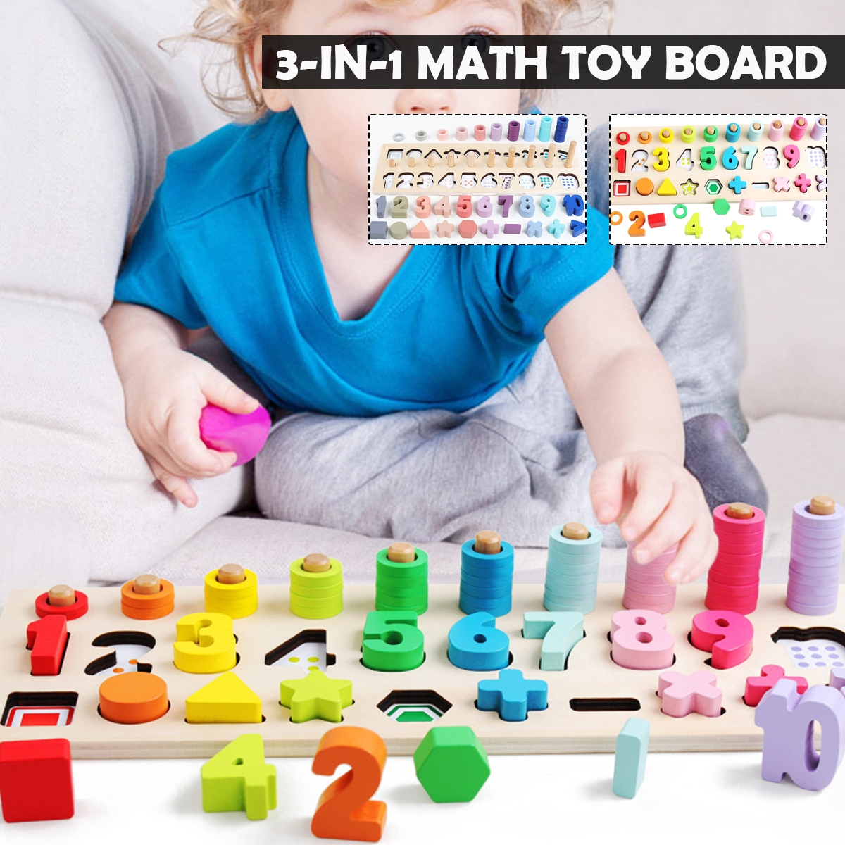 3 IN 1 Wooden Preschool Learning Montessori Math Counting Board Toys for Children Gift