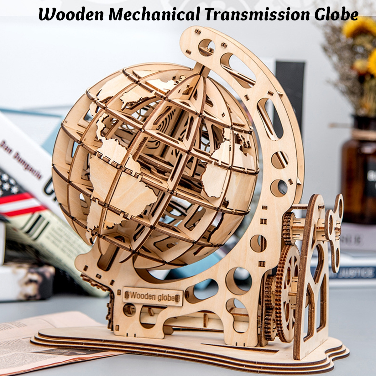 Wooden Pendulum Globe Model Ornaments Assemble Toys