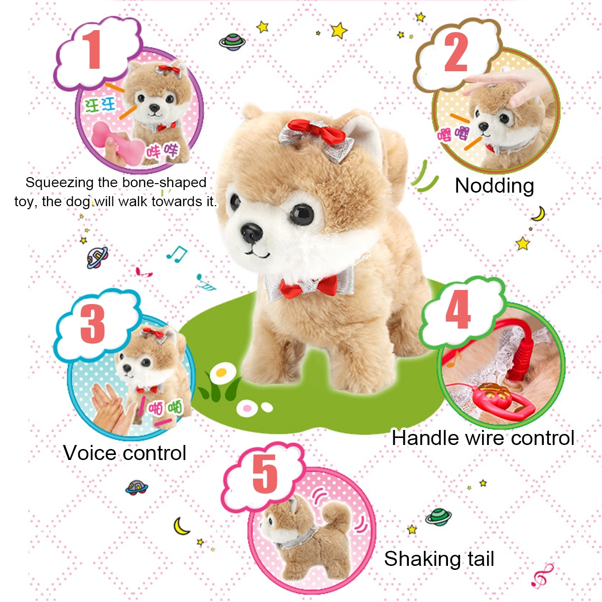 Simulation Electric Dog Leash Smart Plush Toys Will Walk And Call Electronic Pet Dog