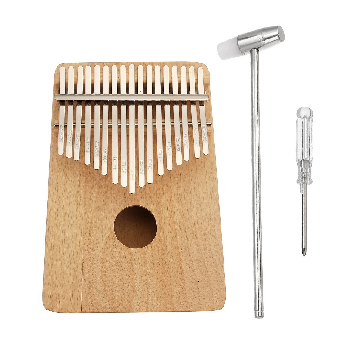 17 Keys DIY Painting Pine Wood Beechwood Kalimbas Thumb Piano Finger Percussion with Tuning Hammer