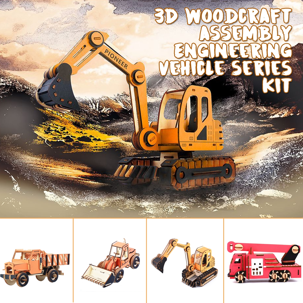 3D Woodcraft Assembly Engineering Vehicle Series Kit Jigsaw Puzzle Decoration Toy Model for Kids Gift