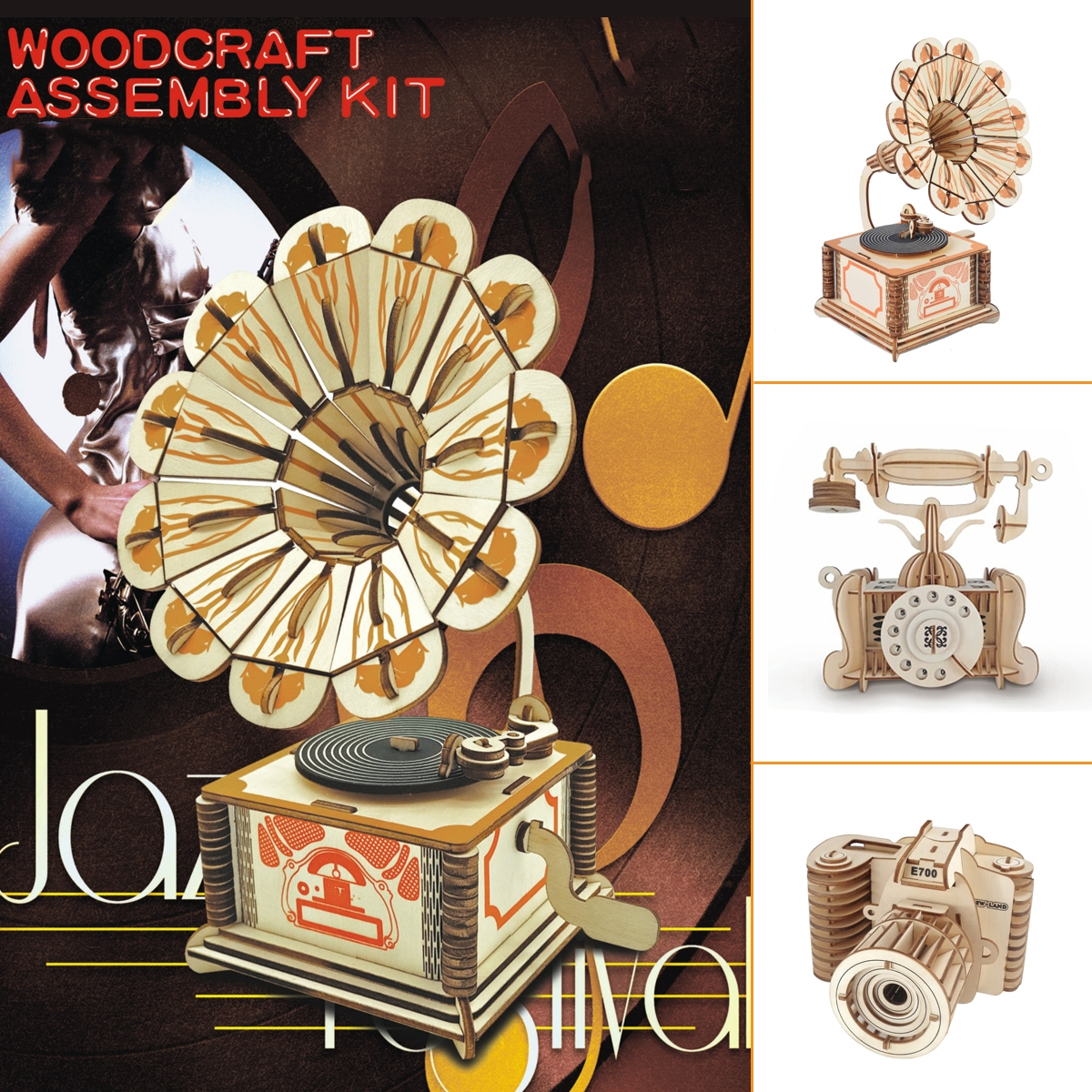 3D Woodcraft Assembly Retro-electric Appliance Series Kit Jigsaw Puzzle Decoration Toy Model for Kids Gift
