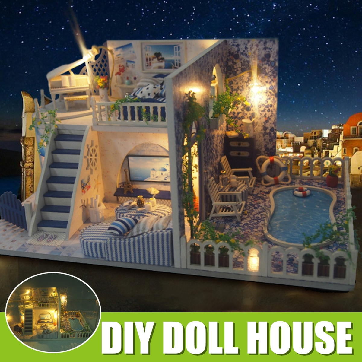 DIY Assembled Hut Santorini Creative Gift Doll House Model Toys