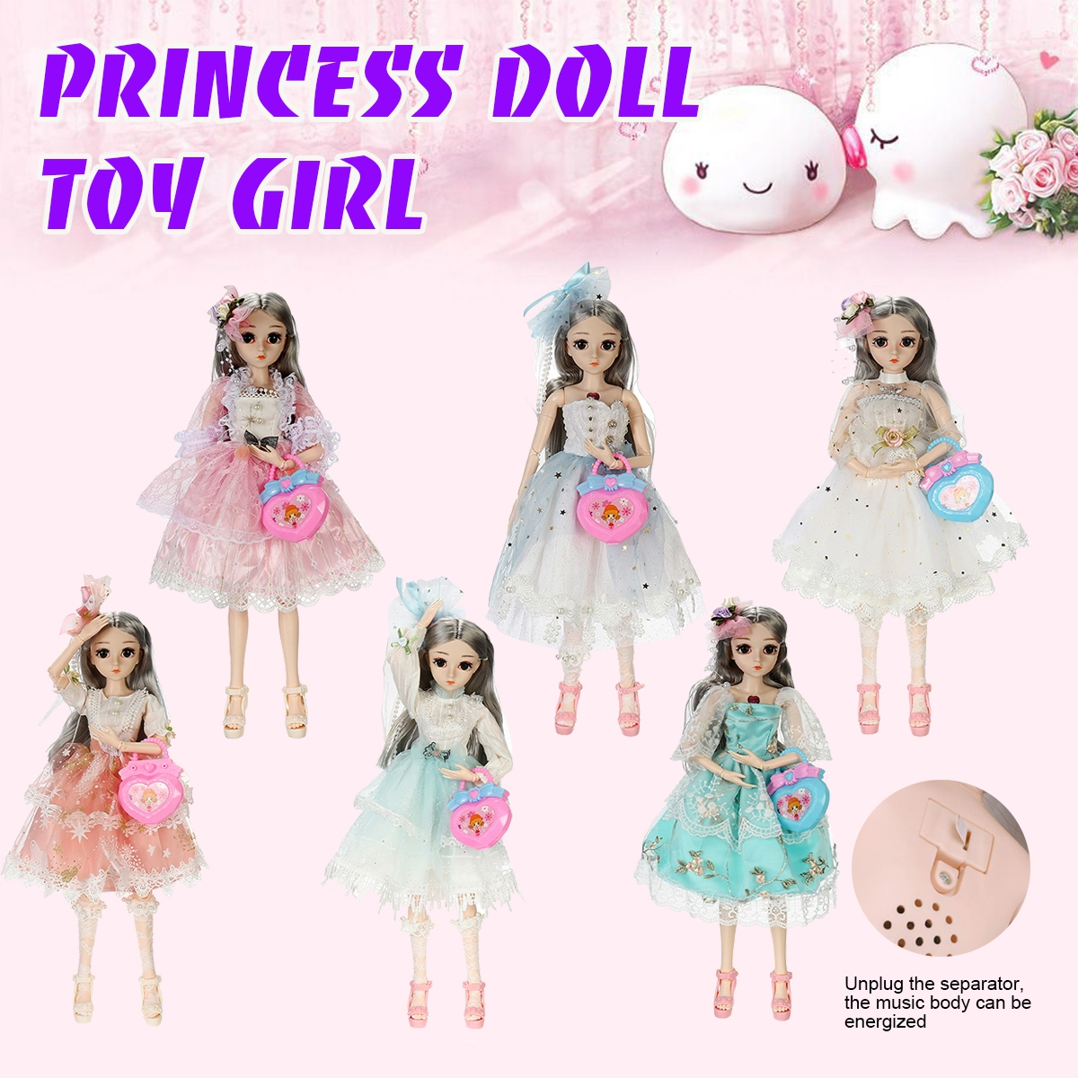 26 Joints Rotatable Princess Doll Action Figure Model Toy with Sound Light for Kids Gift