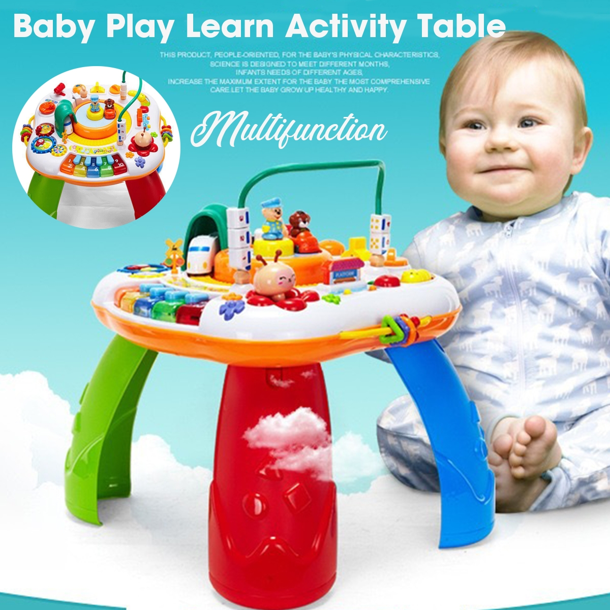Multi-function Mini Baby Playing Learn Activity Game Table Toys for Kids Gift