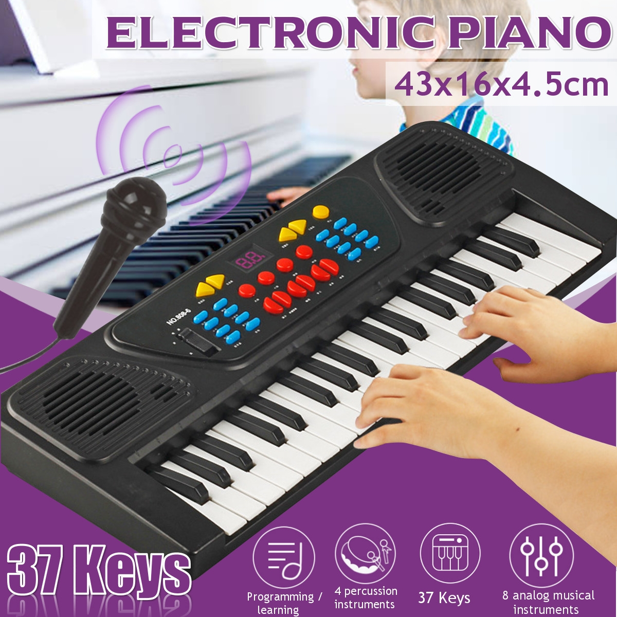 Kid's Electric Keyboard Digital Music Piano 37 Keys Instrument & Microphone Gift