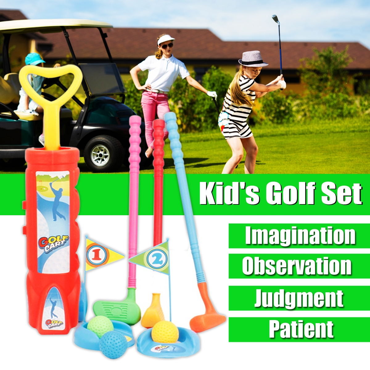 Children's Golf Sports Toy Set with Cart Net Bag Packaging Toys