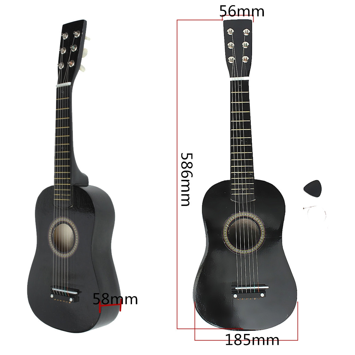 23'' Black 6 String Beginner Wood Acoustic Guitar with Pick + Wire