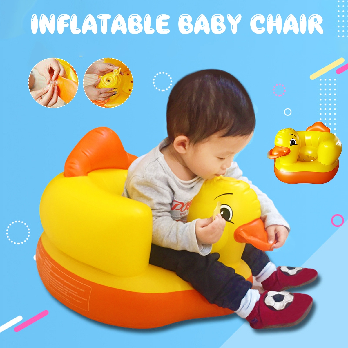 Cartoon Cute Yellow Duck Inflatable Toys Portable Sofa Multi-functional Bathroom Sofa Chair for Kids Gift