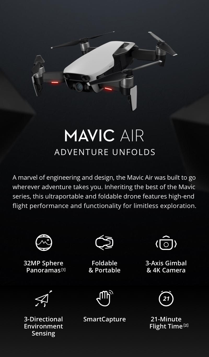 DJI Mavic Air 4KM FPV w/ 3-Axis Gimbal 4K Camera 32MP Sphere Panoramas RC Drone Quadcopter