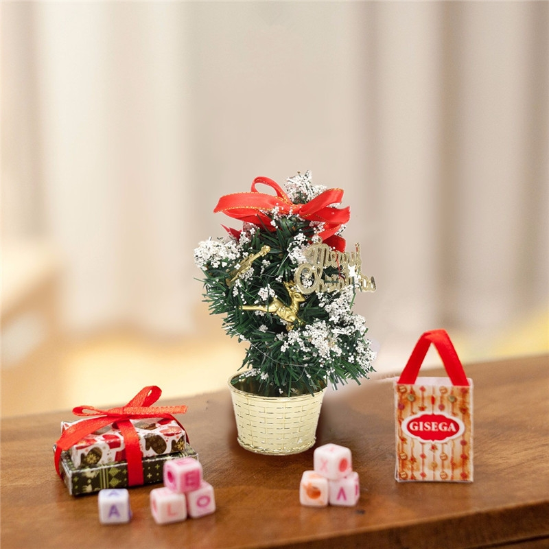 Mini Tabletop Christmas Tree Ornament Multi-patterns Random Xmas Home Party Dinner Table Decor