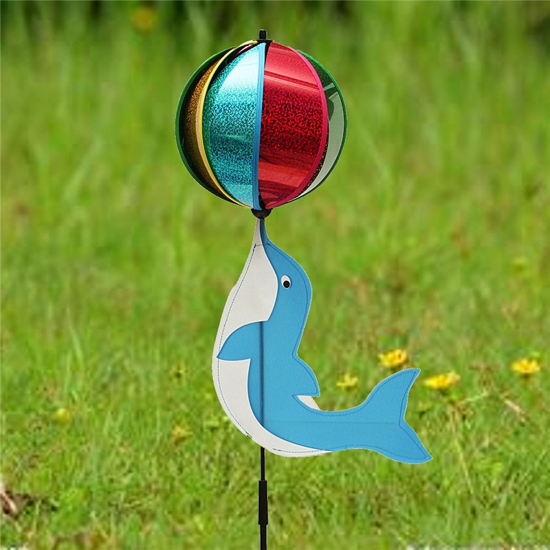 Dolphin Plays Ball Windmill Toy Animal Wind Spinner Whirligig Garden Lawn Yard Camp Decor