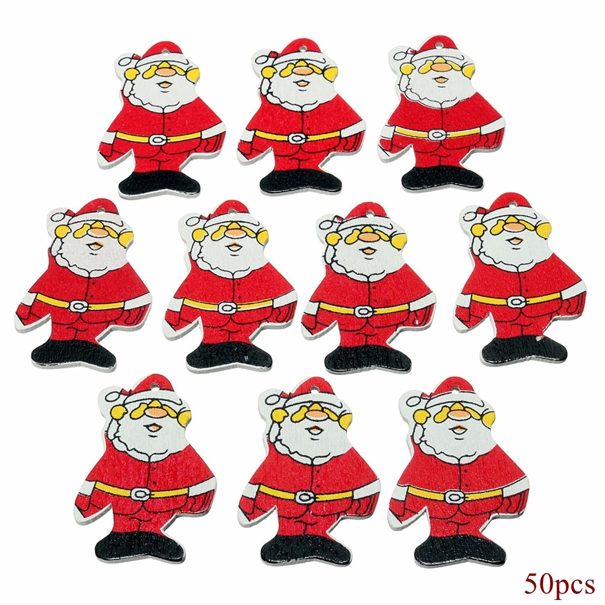 50x Wooden Christmas Father Santa Claus Xmas Tree Ornament Hanging