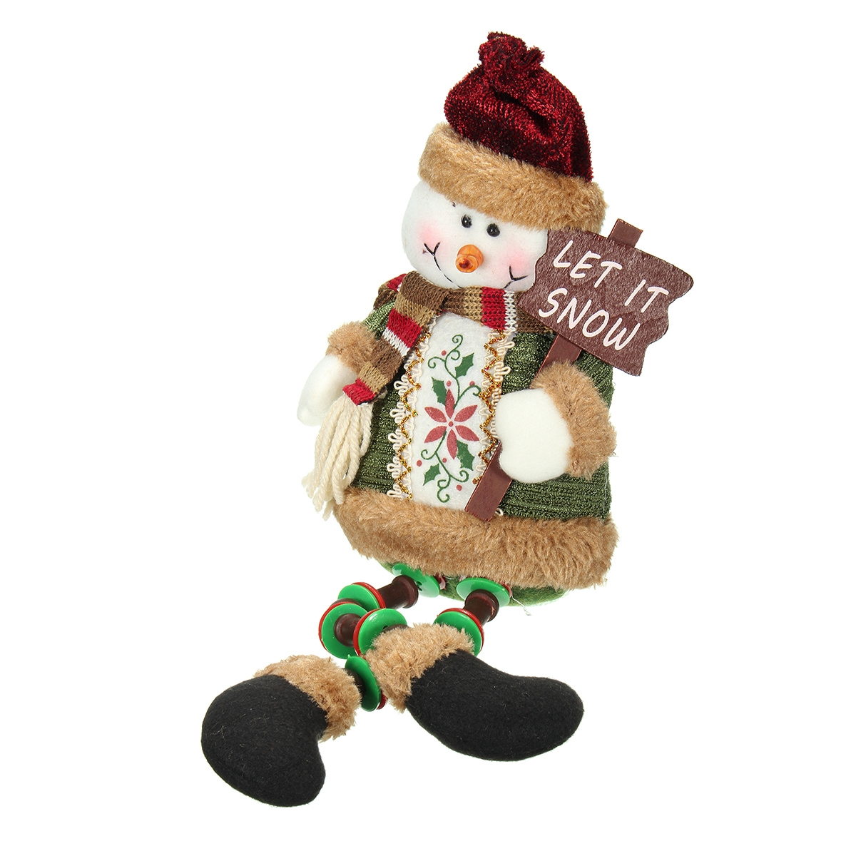 Christmas Home Decoration Sitting Cute Snowman Ornament Flannel Toy Gift