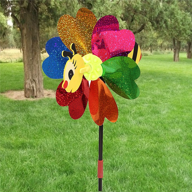 DIY Windmill Kit Bee LadyBug Random Insect Pattern Wind Spinner Whirligig Toy Lawn Yard Camp Decor