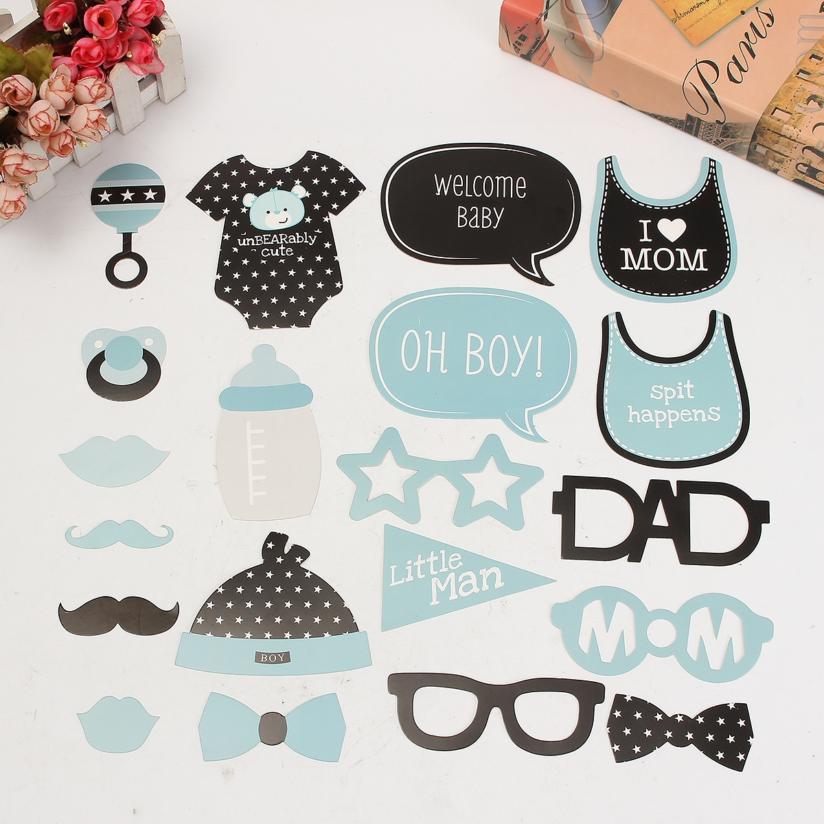 Baby Child Birthday Party Funny Interesting Photo Paper Beard Props