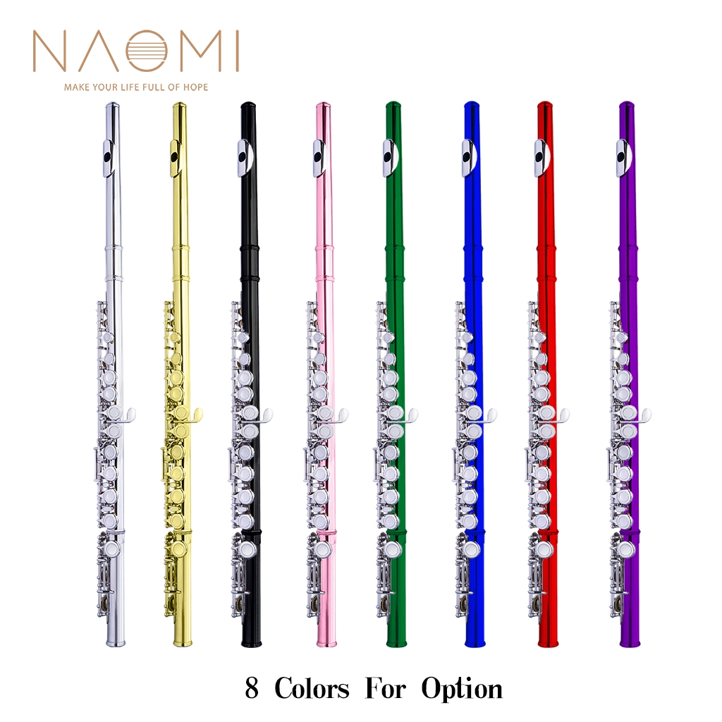 NAOMI Professional Closed 16 Hole Flute C Key Concert Flutes Cupronickel Silver Plated Flute