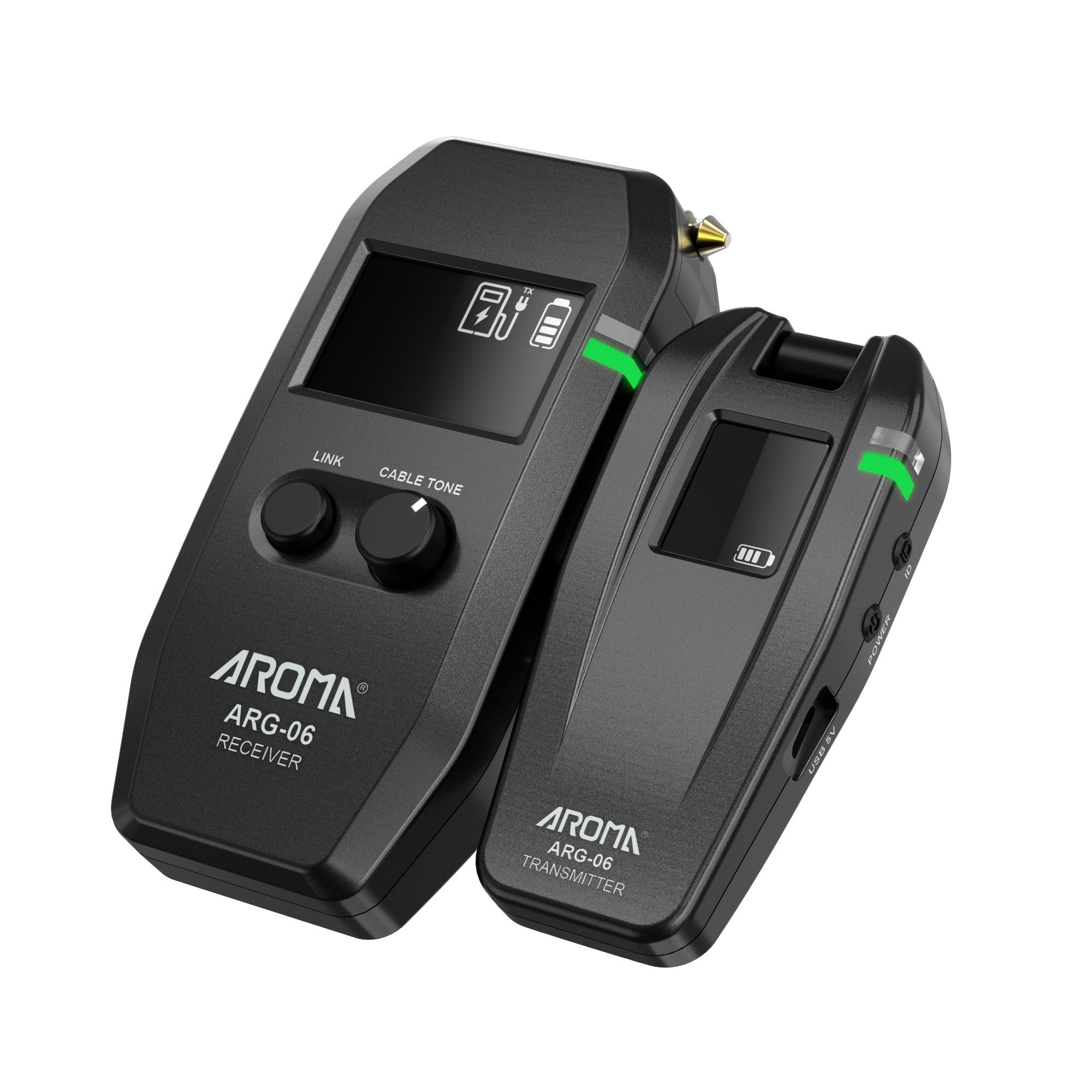 AROMA ARG-06 Wireless Guitar Audio Transmission System Transmitter Receiver Built-In Battery for Electric Guitar Bass