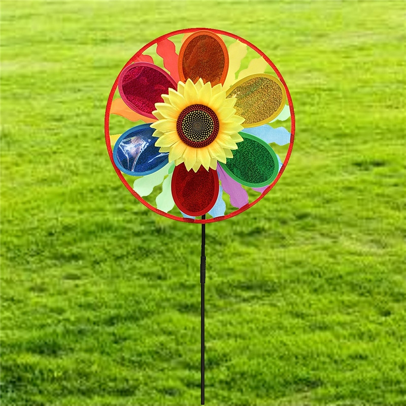 Sunflower Windmill Wind Spinner Rainbow Wheel Whirligig Garden Lawn Yard Decor