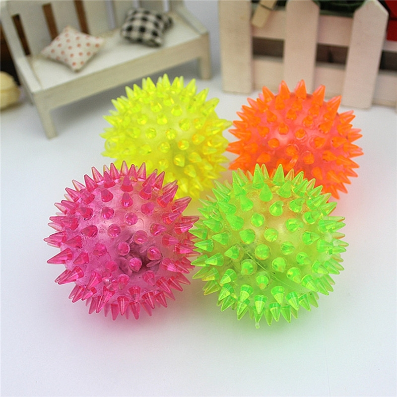 6cm Stress Reliever Ball Flashing Light Spiky Massage Ball Stress Reflexology Eases Tension Therapy