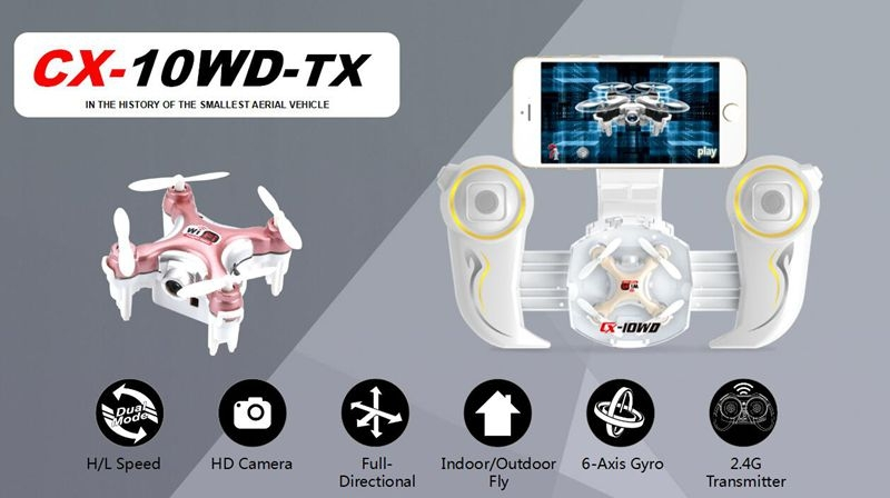 Cheerson CX-10WD CX10WD Mini WiFi FPV with 0.3MP Camera Altitude Hold Mode 2.4G 6-Axis RC Drone Quadcopter RTF