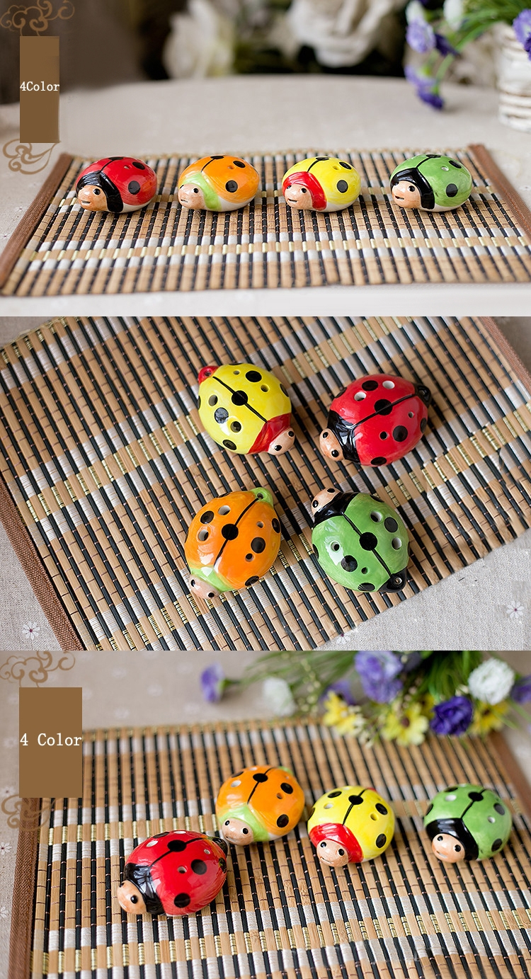 6 Hold Ocarina With Cute Ladybug Shape 4 Color For Kids Gift