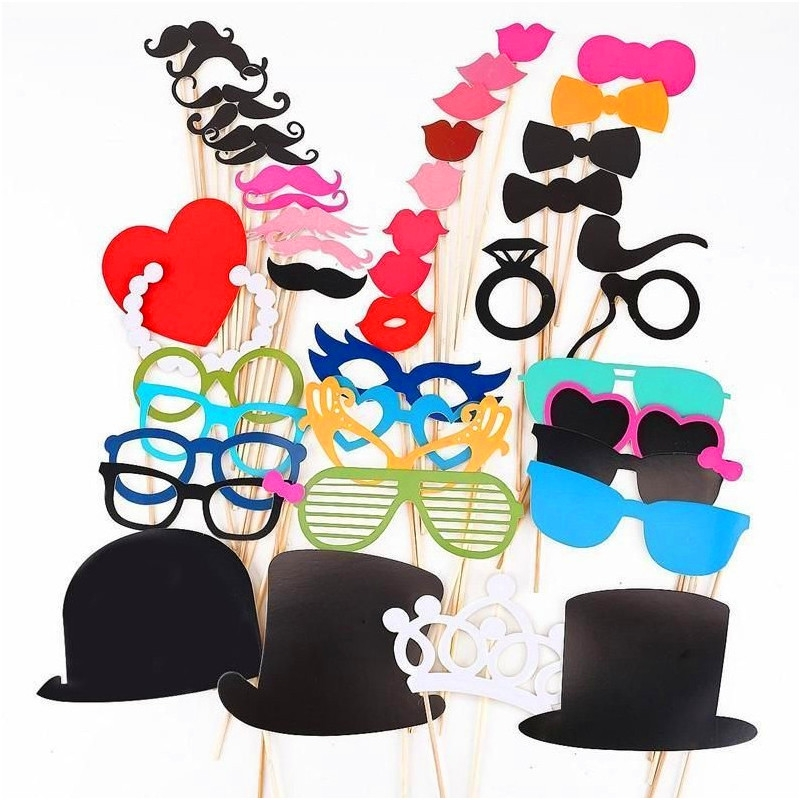 44PCS DIY Photo Booth Props Moustaches Tie Glasses Wedding Party Christmas Accessories