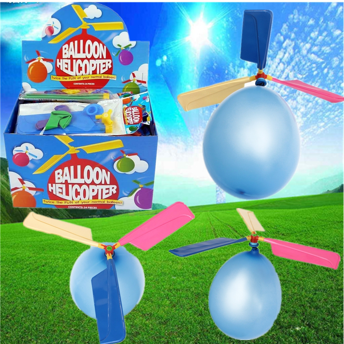 Colorful Traditional Classic Balloon Helicopter Portable Flying Toy