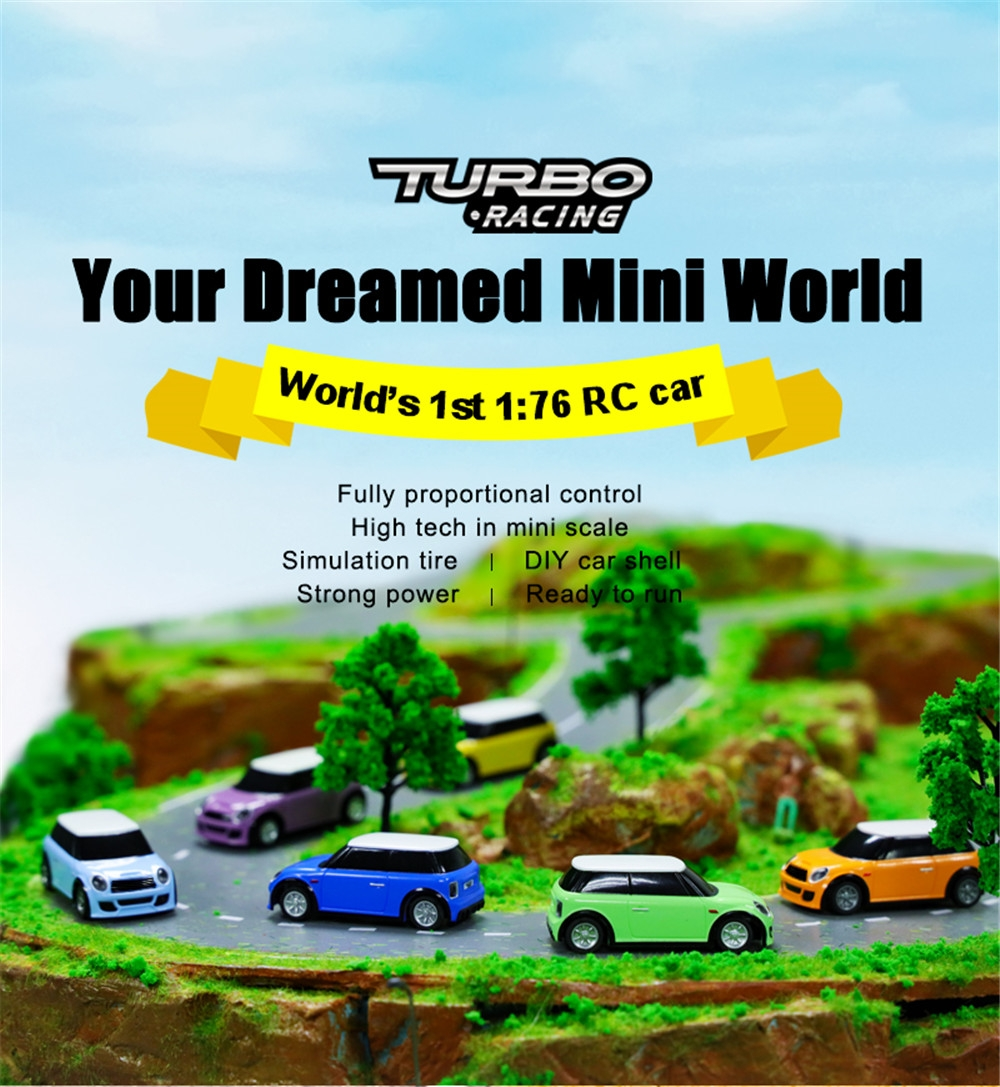 Turbo Racing RTR 1/76 2.4G RWD Fully Proportional Mini RC Car LED Light Vehicles Model Kids Children Toys
