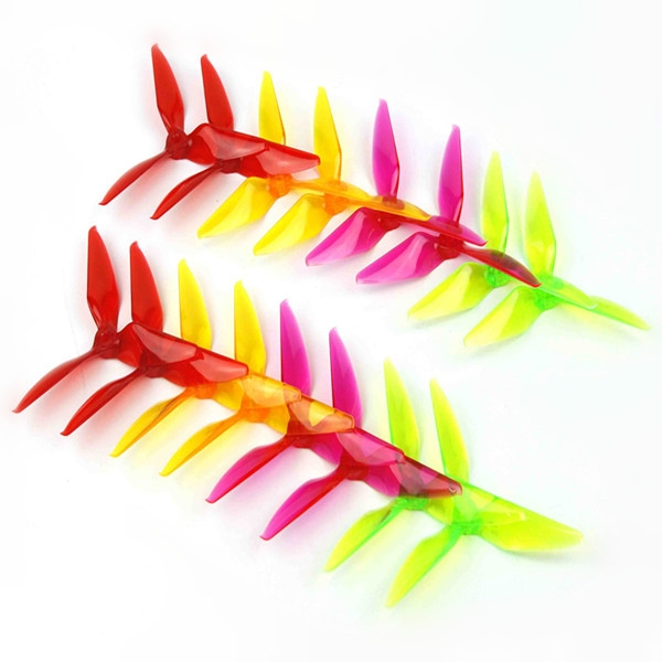 8 Pairs Kingkong 5051 Multicolor 3-blade Propeller CW CCW 5.0mm Mounting Hole for FPV Racer