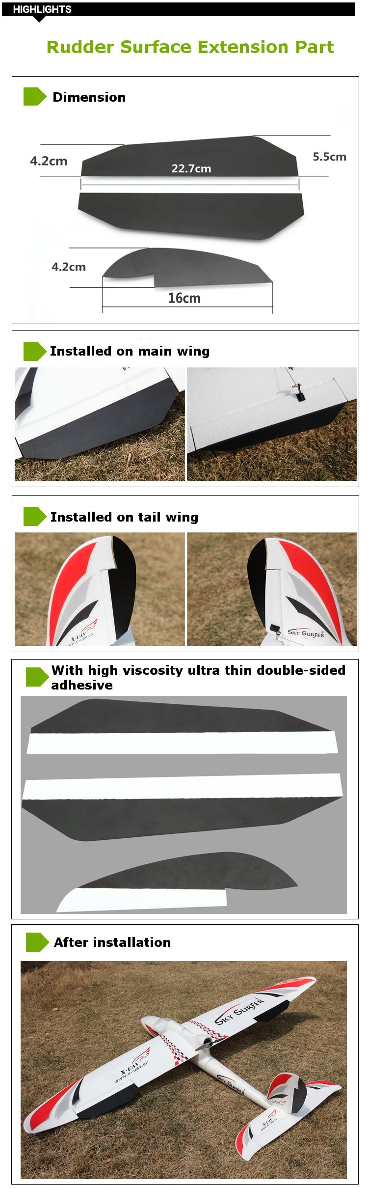 Glassfiber Cicada Wing Rudder Surface Extension Part For X-UAV Sky Surfer X8 RC Airplane