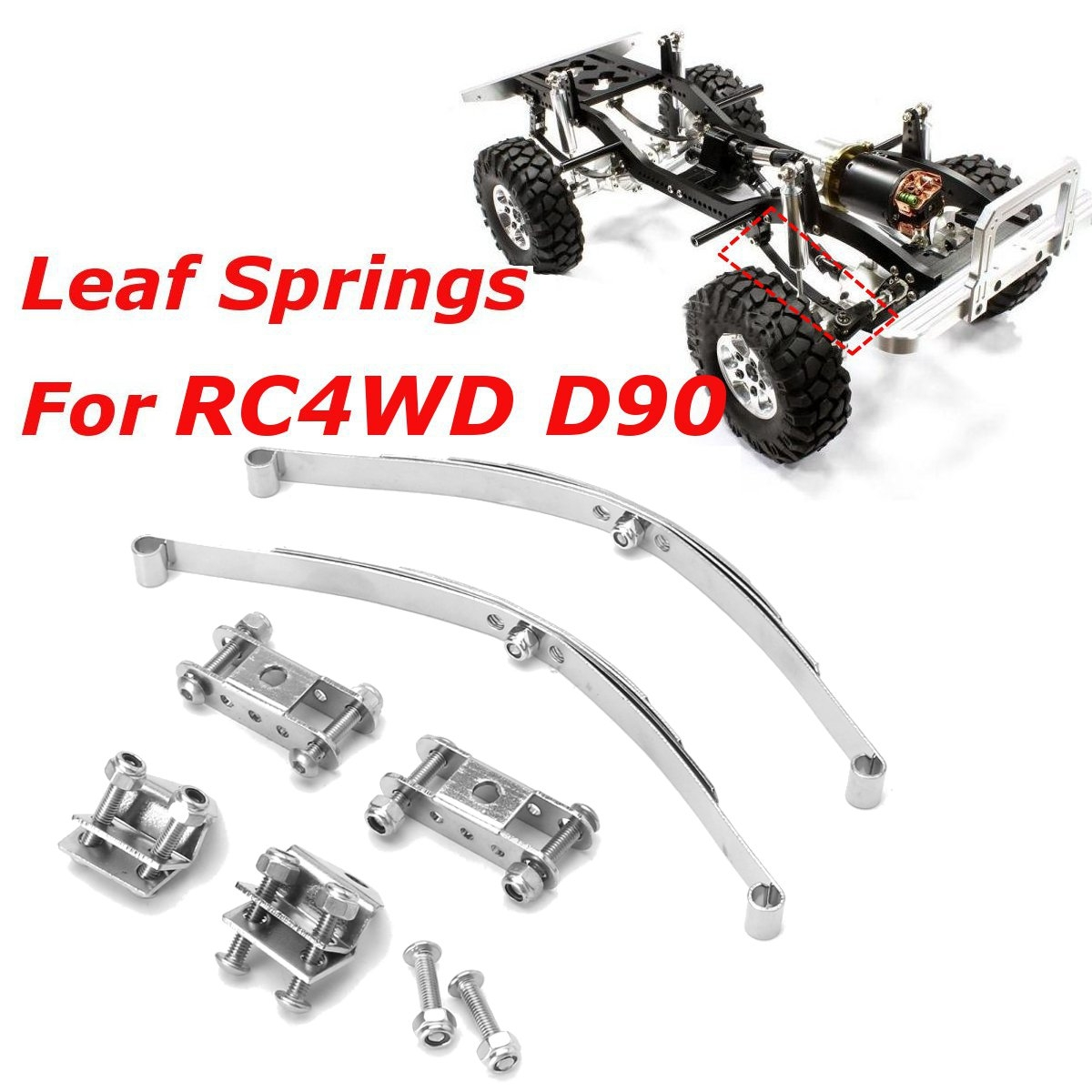 1/10 Leaf Springs Set HighLift Chassis For D90 RC Crawler Car Parts Silver Color